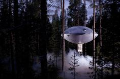 The Ufo at the Tree Hotel by Inredningsgruppen, a flying saucer structure cast in durable composite material located in Harads, northern Sweden. Treehouse Hotel, Building A Treehouse, Backyard Treehouse, Treehouse Ideas, Ufo, Glamping, Designer Hotel, Nature Architecture, Architecture Design