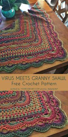Virus Meet Granny Shawl free crochet pattern - knitting is as easy as . - Hakeln - Virus Meet Granny Shawl Free crochet pattern – knitting is as easy as 3 Knitting boils down - Marque-pages Au Crochet, Point Granny Au Crochet, Poncho Au Crochet, Crochet Shawls And Wraps, Crochet Blanket Patterns, Crochet Scarves, Crochet Crafts, Crochet Stitches, Knitting Patterns