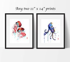 This item is a set of two 11 x 14 (27.9 cm x 35.6 cm) giclee fine art prints of original watercolor paintings by Jade Wu. The quality and texture of