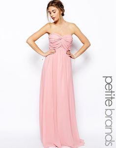 Image 1 of Jarlo Petite Bandeau Maxi Dress With Gathered Bust