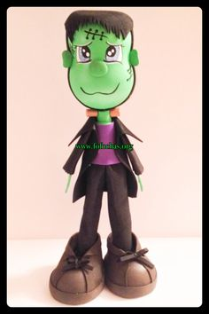 Frankenstein Fofucho Doll. handmade using foam sheets. This fofucho Doll stands at 14 inches. Can be a perfect Halloween decoration, can be used as a centerpiece. 100% handmade. To purchase visit fofuchas.org or like us at facebook.com/fofuchashandmadedolls #frankenstein #foamdoll #halloween #fofuchas