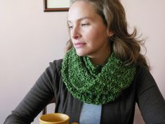 Handmade stylish & warm infinity scarves made in garter stitch with super soft Lion Brand Homespun acrylic yarn in olive green to be worn with