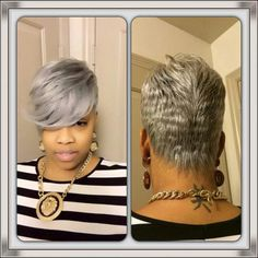 I really like this look, silver pixie. Love Hair, Great Hair, Gorgeous Hair, Short Sassy Hair, Short Grey Hair, Black Hair, My Hairstyle, Girl Hairstyles, Natural Hair Styles
