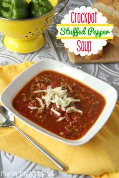 25 Comforting Crockpot Soups - Crockpot Stuffed Pepper Soup - FamilyFreshMeals.com