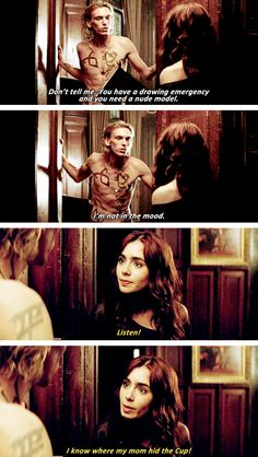 Meanwhile Clary's trying not to laugh
