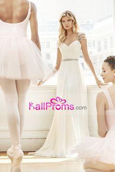 2017 vestidos de novia de manga corta blusa acanalada una línea de gasa con rebordear