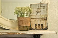 DIY antiqued temple photo on wood
