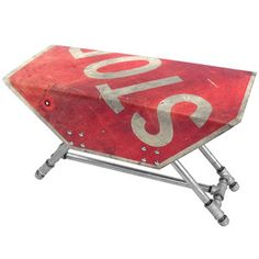 Stop Sign Side Table... would be cool in Justin's future garage shop haha :)