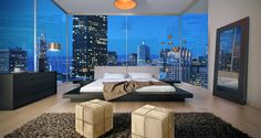 Manhattan Penthouse bedroom interior with huge windows.