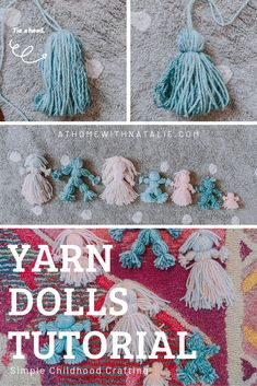 Yarn Dolls Tutorial – At Home With Natalie- If you can wrap yarn… cut and tie… you can whip up some DIY yarn dolls! I break down the steps to have fun with this simple childhood craft! Diy Yarn Dolls, Wool Dolls, Fabric Dolls, Crochet Dolls, Yarn Crafts For Kids, Easy Diy Crafts, Diy Doll Easy, Yarn Animals, Homemade Dolls