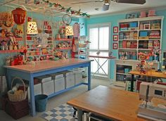 A craft room with multiple project spaces, great for us that have more than one project going on at a time.