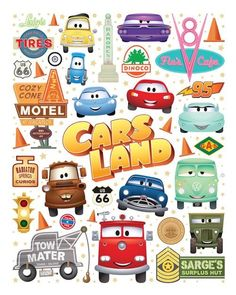 Cutest Little Town In Carburetor County - NEW artwork to celebrate Five Years of CARS LAND! I'll be joining artist Joey Chou for a special signing event at Ramone's House of Body Art in CARS LAND at Disney California Adventure Park - Saturday, June. Disney Cars Party, Disney Cars Birthday, Disney Pixar Cars, Car Themed Parties, Cars Birthday Parties, Disney Cars Bedroom, Lightning Mcqueen Party, Festa Hot Wheels, Car Radiator