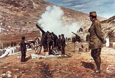 Crown Prince Constantine and artillery at Bizani Greece Greek Independence, Marquess, Military Diorama, Military History, Troops, World War, Religion, Pictures, Image