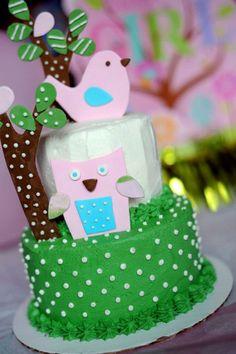 - Baby shower cake owl bird tree