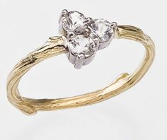 White Sapphire Engagement Ring withTwig Band    Natural by bmjnyc, $1090.00
