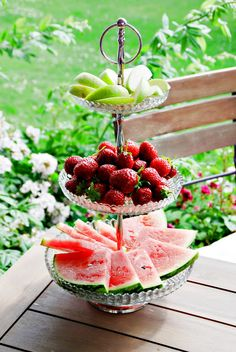 Summer patio party fruit display