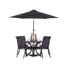 #Patio Dining Set 6 #piece Black Outdoor Garden Furniture Table 4 Chairs  #parasol