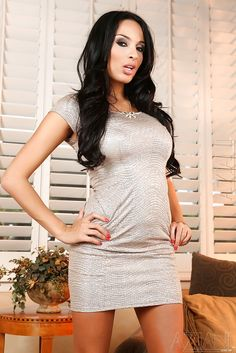 Anissa Kate in a silver dress #TightDress