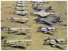 Mirage III interceptors, F-86 Sabre fighters, Blackburn Buccaneer attack jets and Camberra bombers of the South African Air Force.