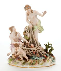 Ceramics & Porcelain, Continental:Antique  (Pre 1900), A MEISSEN PORCELAIN FIGURAL GROUP MODELED BY K�NDLER: CAPTURINGTHE TRITONS . Meissen Porcelain Manufactory, Meissen... Image #1