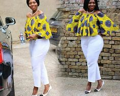 The versatility of the Ankara fabric cannot be overemphasized; one of the many things you can achieve with this beautiful fabric is the Ankara tops. Today, we bring you variety… African Wear Dresses, African Fashion Ankara, Latest African Fashion Dresses, African Print Fashion, African Attire, African Blouses, African Tops, African Women, Ankara Blouse