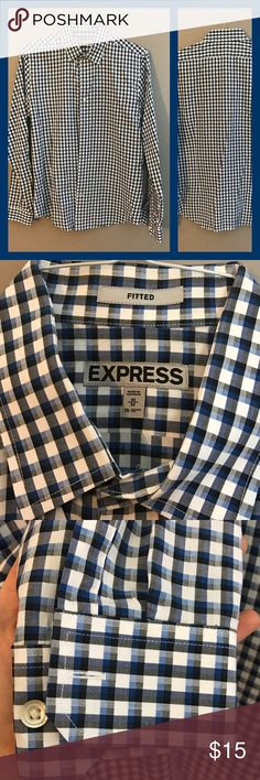 Express Fitted Dress Button Down Shirt NWOT Express Men's fitted dress shirt. 🔹▪️▫️geometric pattern. Please review size chart, it was taken directly from the Express web site. Perfect condition! Express Shirts Dress Shirts