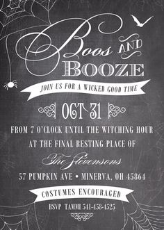Come for the Boos and stay for the Booze.  These fun 5 x 7 Boos and Booze Halloween party invitations are custom printed on chalkboard inspired cardstock and come with free envelopes for mailing. Featuring a spider web design with vintage appeal. Great for annual Halloween cocktail parties and adult costume parties. To order, visit http://www.tippytoad.com/boos-booze-halloween-party-invitations.asp