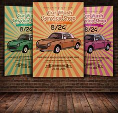 Retro Car Wash Flyer Template by Leza on Creative Market