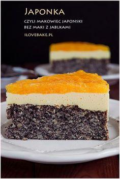 ciasto japonka Pavot pomme Polish Desserts, Polish Recipes, Cookie Desserts, No Bake Desserts, Sweet Recipes, Cake Recipes, Dessert Recipes, Food Cakes, Sweet Cakes