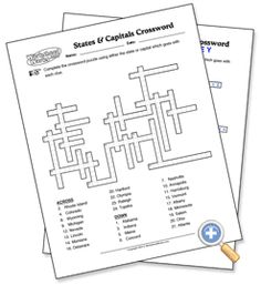 Geography for Kids: States & Capitals Crossword - WorksheetWorks.com