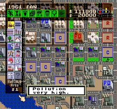 SimCity on the Super Nintendo....I used to do the cheat where you would let the game run for hours and you would have a ton of money...then when I went back to play it half of my city was destroyed LOL