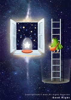 Star Illustration, Beauty Illustration, Creative Illustration, Good Night Gif, Good Night Moon, Gifs, Good Night Sweet Dreams, Alice, Beautiful Gif
