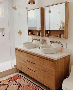 Insta Crush : Almost Makes Perfect Washroom Vanity, Washroom Design, Wood Vanity, Shower Set, Shower Floor, Pretty Room, Basin Sink, Wood Design, Bathroom Inspiration