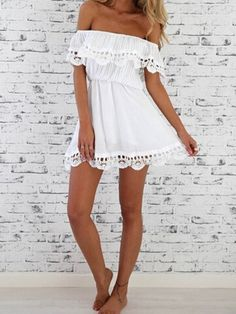 Vestido Casual encaje hombro al aire-blanco-Spanish SheIn(Sheinside)