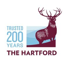The Hartford Logo: interesting use of area and color–the figure is a mature, alert elk peering out at the horizon, the name of the company is in the same color as the figure which relates the two visually. The ground is a series of curved lines representing hills in the distance. Combined with the text in the same color it conveys a sense of experience and successful survivorship.