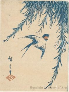Utagawa Hiroshige: Swallow and Willow (Descriptive Title) - Honolulu Museum of Art