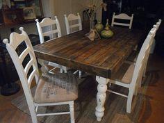 wood farmhouse kitchen table