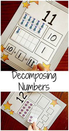 Low Prep Center for practicing decomposing numbers in the teens and writing equations. Perfect for kindergarten common core standard K.NBT.A.1 $
