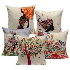 #NewChic - #NewChic Linen Fresh Girl Flower Throw Pillow Case Cushion Cover Home Decor - AdoreWe.com