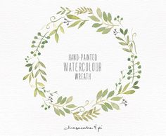 Watercolor wreath: 1 PNG floral clip art / Wedding invitation clip art / commercial use / Greenery branches and leaves / CM0063j by CheesecakeandPi on Etsy https://www.etsy.com/listing/219807736/watercolor-wreath-1-png-floral-clip-art