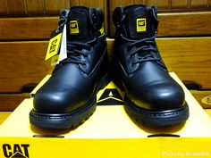 """My CAT footwear...:) http://www.ArakakiK.com Cat footwear with Slip Resistant outsoles reduces the risk of slips and falls - the hazard of low traction surfaces. Build a Better World """"At Caterpillar, we build the machines that help our costumers build a better world... #CAT #Caterpillar #Footwear"""