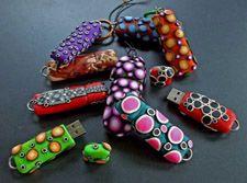 "Karen Ottenbreit - Fish Lips and Bird Feet Studio -- ""Data Pods"" (made from polymer clay) -- fishlipsandbirdteeth.com"