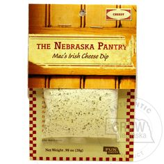 """The Nebraska Pantry Mac's Irish Cheese Dip: This mild, cheesy dip has a blend of white cheddar, horseradish, onions, garlic, chives and more that make is wonderful to serve on wheat crackers, with corn chips or potato chips. It includes the Nebraska """"fun fact"""": Famous People of Nebraska. 4"""" x 6"""". MSG free.  #GrowNE"""