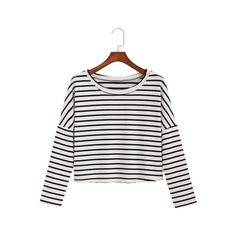 SheIn(sheinside) Black White Round Neck Striped Crop T-Shirt (130 ARS) ❤ liked on Polyvore featuring tops, t-shirts, black, striped t shirt, striped tee, cotton t shirt, long sleeve t shirts and striped crop top