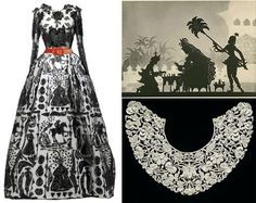 Robe : Christian Lacroix Haute couture  Illustration : Lotte Reiniger - extrait de The Adventures of Prince Achmed  Col ancien, Vienne 1879