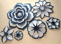 Chanel Inspired Large Paper Flowers Paper Flower Set Two image 4 Paper Flowers Craft, Large Paper Flowers, Paper Flowers Wedding, Paper Flower Wall, Paper Flower Backdrop, Flower Crafts, Paper Crafts, Navy Flowers, Giant Paper Flowers