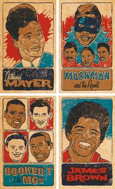 Keep the faith with these brilliant retro design trading cards featuring various artists from the world of funk, Rhythm and Blues and Northern Soul.