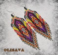 Beautiful beaded dangle peyote earrings with fringe. Earrings made from Czech beads. Measurements: Length - cm ( 4 ) (including ear wires) Width - 4 cm More earrings here Tribal Mode, Style Tribal, Style Boho, Ethnic Style, Seed Bead Jewelry, Seed Bead Earrings, Fringe Earrings, Beaded Jewelry, Seed Beads
