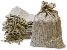 Jewelry Pouches Wedding Favors Gift Bags Sansam 50pcs 7.0x9.0cm//2.8x3.6 Light Purple Color Small Drawstring and Lining Hemp//Hessian Bags Jewelry Packing