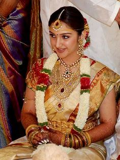 Jewellery Designs: Sridevi with Indian Bridal Jewellery South Indian Wedding Saree, Indian Wedding Bride, South Indian Bride, Saree Wedding, Indian Weddings, Wedding Dress, Indian Bridal Fashion, Indian Bridal Wear, Indian Jewellery Design